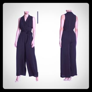 NEW Do + Be black tie-waisted wide-leg jumpsuit
